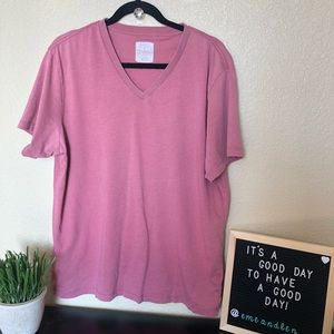 J Crew Broken in rose pink v neck t shirt large